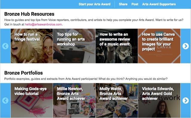 Bronze Hub screenshot for Arts Award Blog