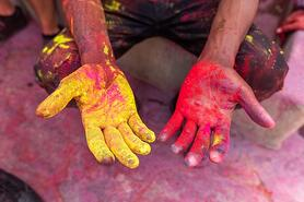 Hands with dye on from Holi festival
