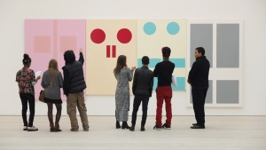 Students looking at Gary Hume, Four Doors I (1989/90) during an ARTiculation Discovery Day at the Saatchi Gallery