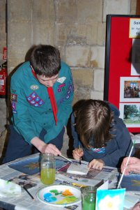 1st Olney Scouts doing their Bronze Arts Award skill share
