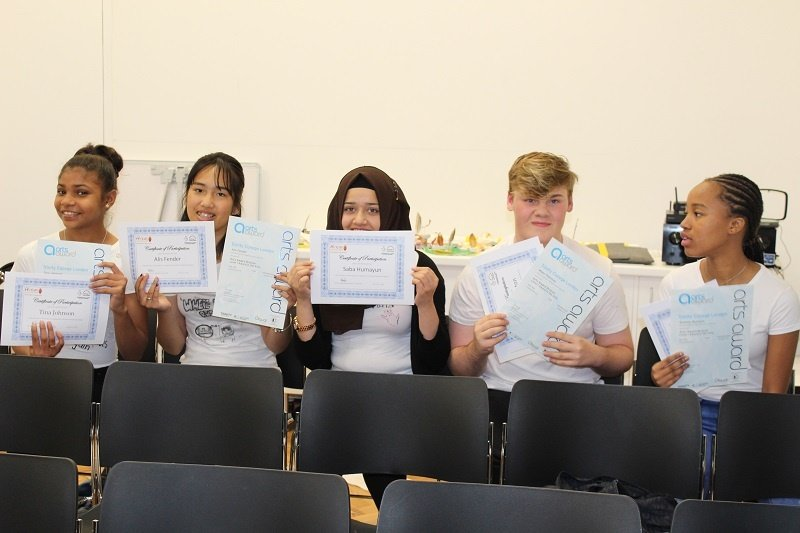 Young people with the Arts Award certificates EDIT