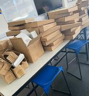 Boxes of art materials ready to send to students