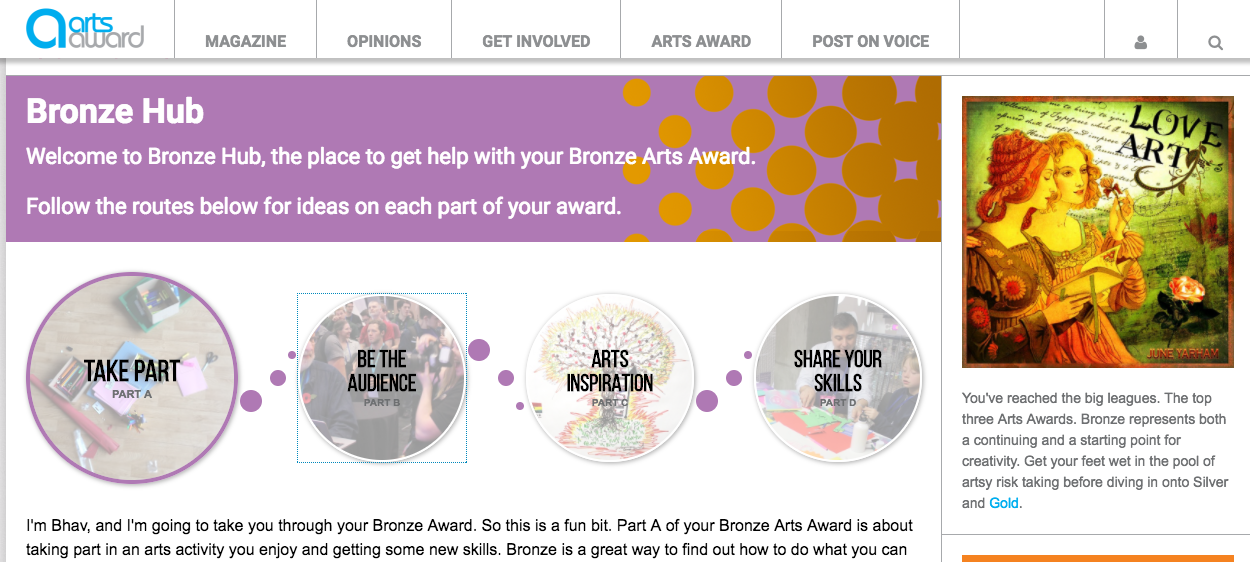 Bronze & Gold Hubs from Arts Award Voice